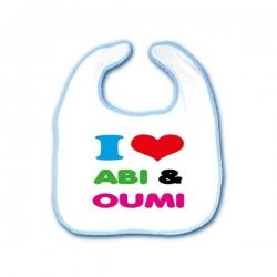 Slabbetje 'I love Abi & Oumi'