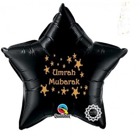 Umrah Mubarak folie ballon ster zwart